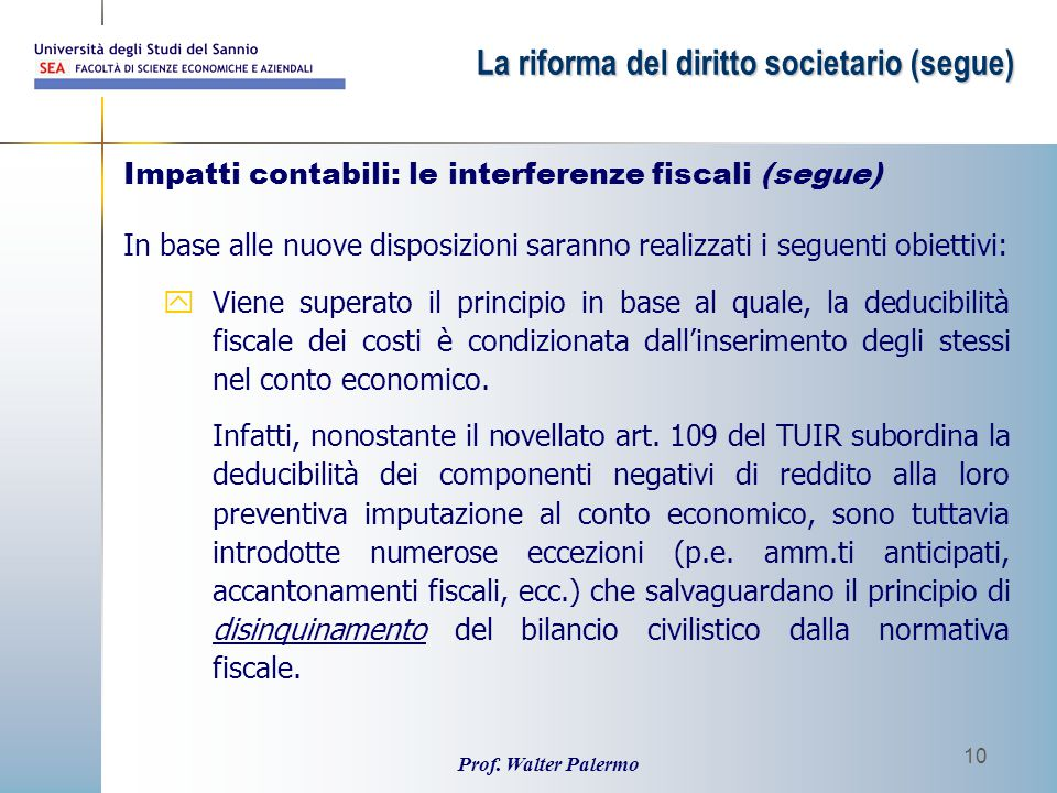 Impatti contabili: le interferenze fiscali (segue)