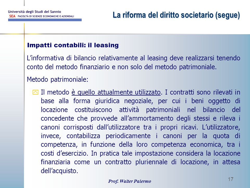 Impatti contabili: il leasing