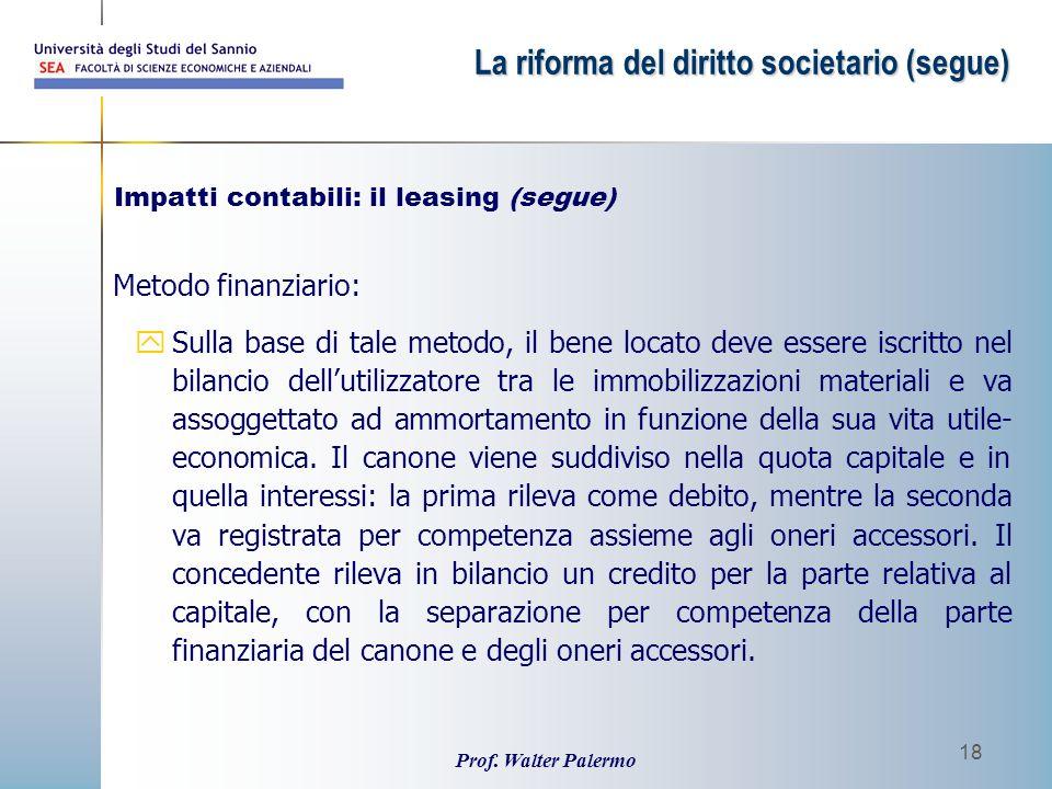 Impatti contabili: il leasing (segue)