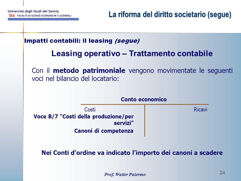 Leasing operativo – Trattamento contabile
