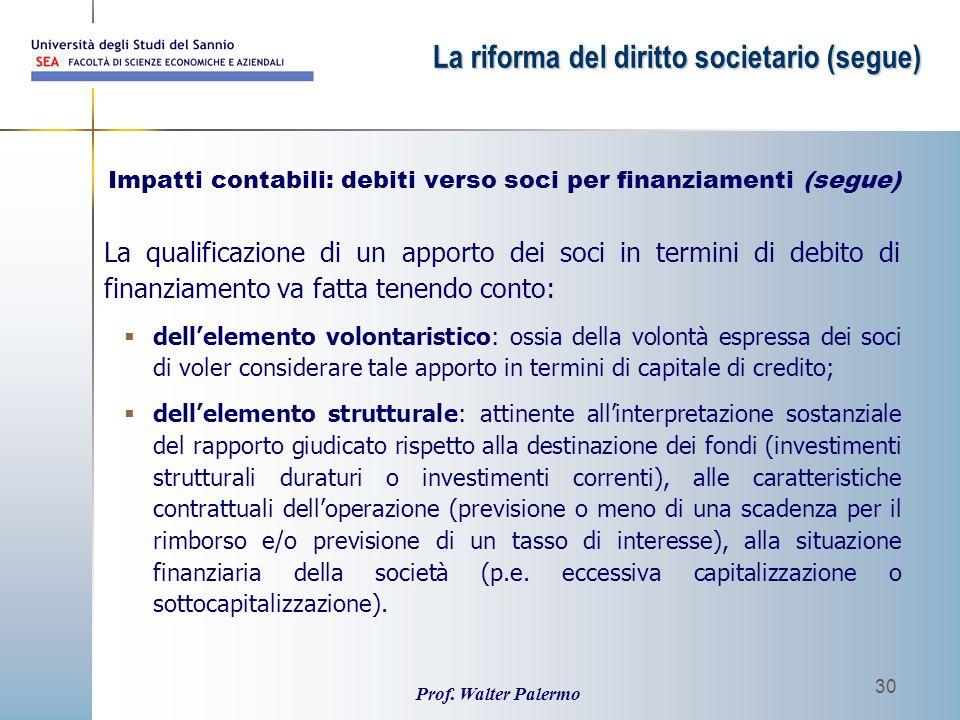 Impatti contabili: debiti verso soci per finanziamenti (segue)