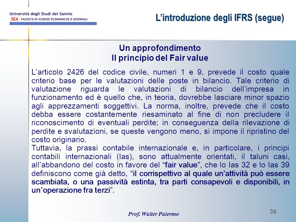 Il principio del Fair value