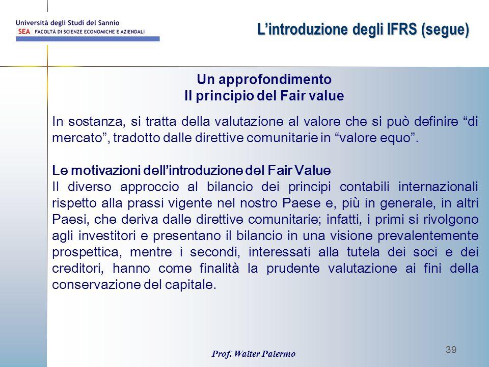 Il principio del Fair value