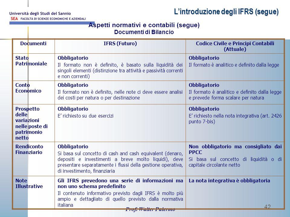 L'introduzione degli IFRS (segue)