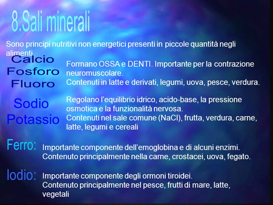 8.Sali minerali Calcio Fosforo Fluoro Sodio Potassio Ferro: Iodio: