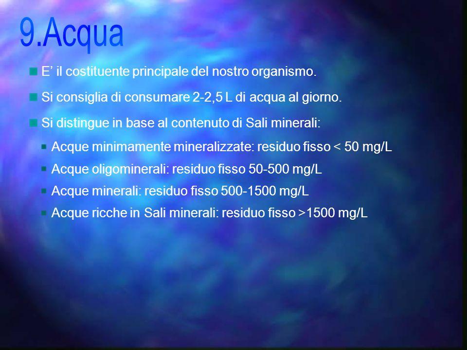 9.Acqua E' il costituente principale del nostro organismo.