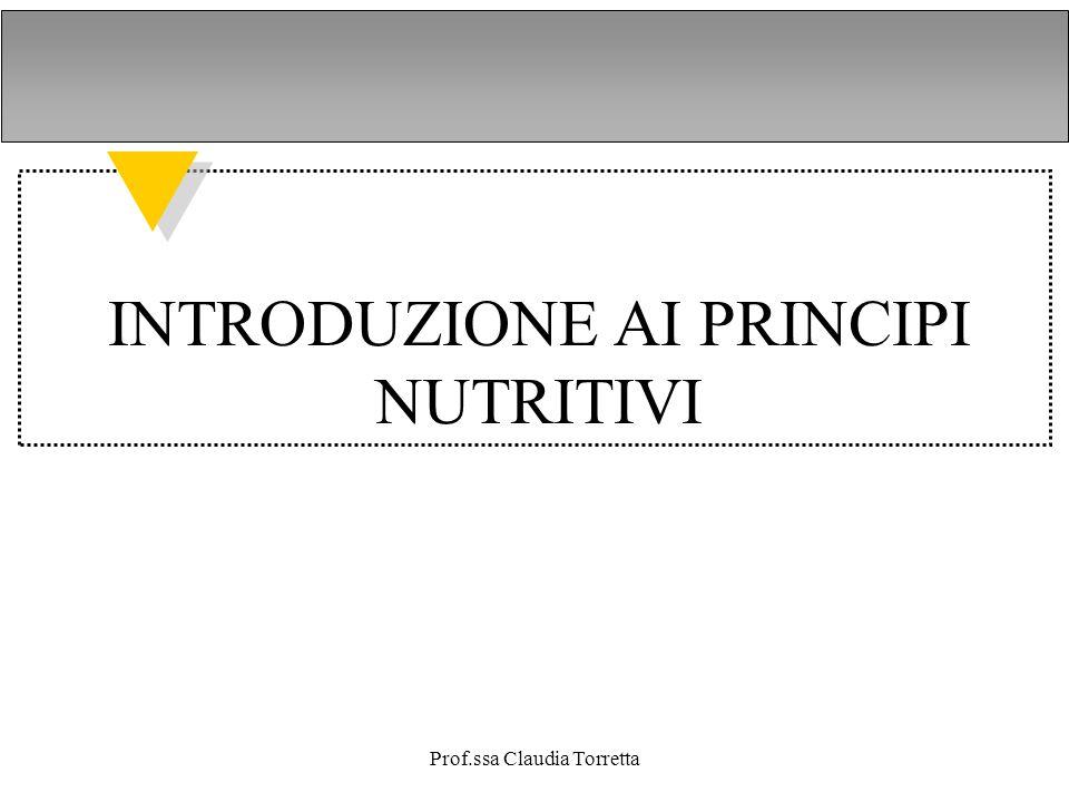 INTRODUZIONE AI PRINCIPI NUTRITIVI
