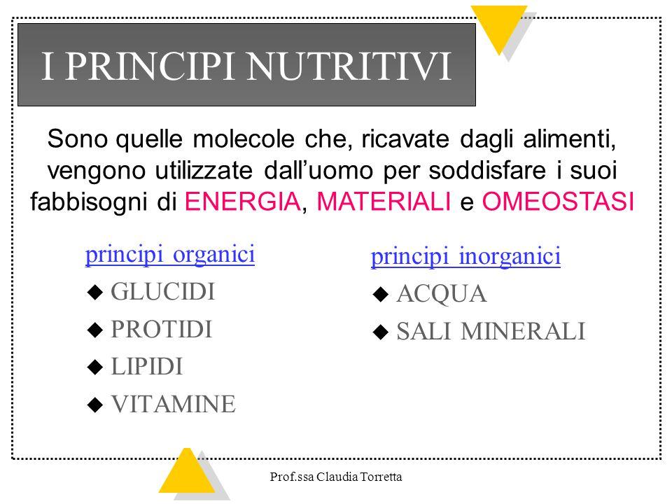 I PRINCIPI NUTRITIVI Sono quelle molecole che, ricavate dagli alimenti, vengono utilizzate dall'uomo per soddisfare i suoi.