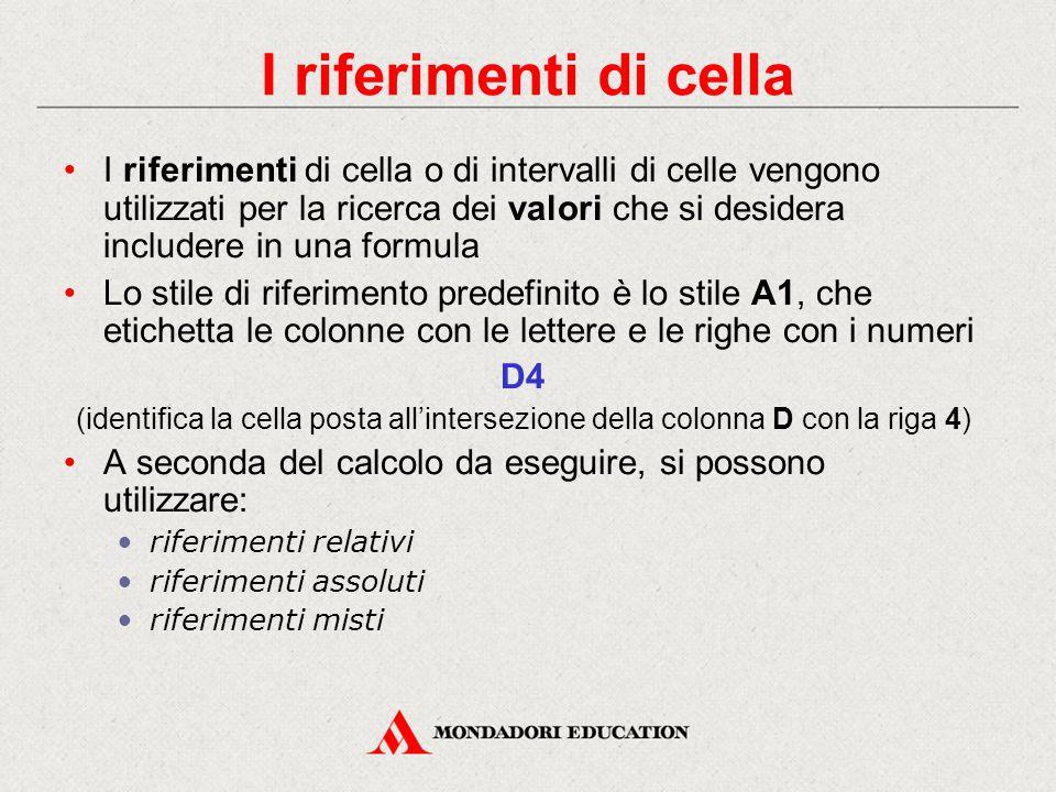I riferimenti di cella