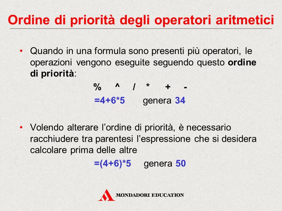 Ordine di priorità degli operatori aritmetici