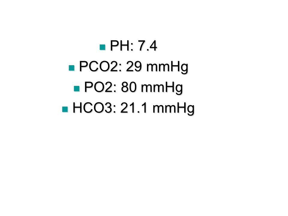 PH: 7.4 PCO2: 29 mmHg PO2: 80 mmHg HCO3: 21.1 mmHg