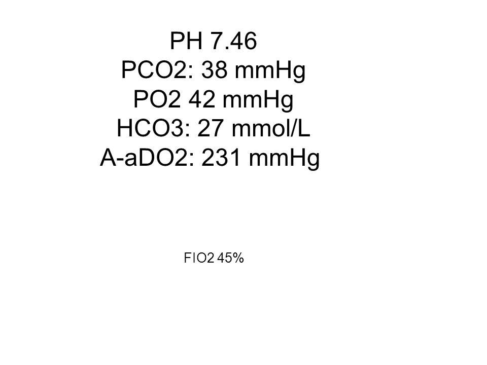 PH 7.46 PCO2: 38 mmHg PO2 42 mmHg HCO3: 27 mmol/L A-aDO2: 231 mmHg