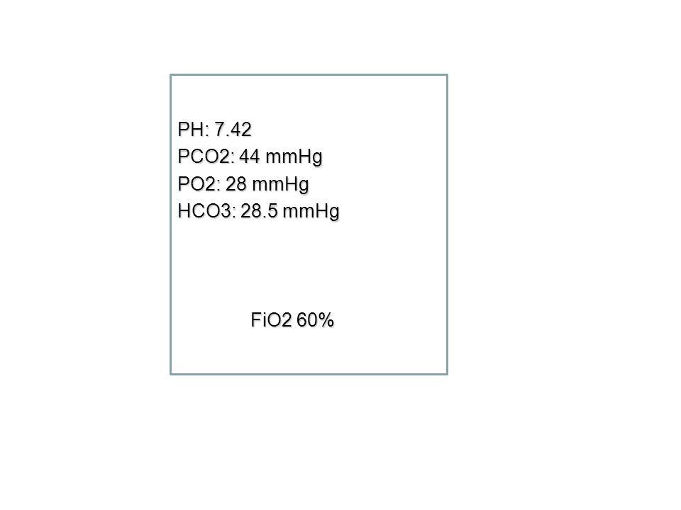 PH: 7.42 PCO2: 44 mmHg PO2: 28 mmHg HCO3: 28.5 mmHg FiO2 60%