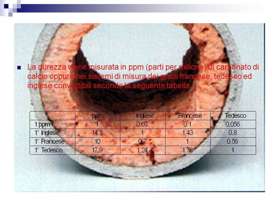 La durezza viene misurata in ppm (parti per milione) di carbonato di calcio oppure nei sistemi di misura dei gradi francese, tedesco ed inglese convertibili secondo la seguente tabella :