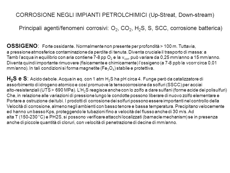 CORROSIONE NEGLI IMPIANTI PETROLCHIMICI (Up-Streat, Down-stream)