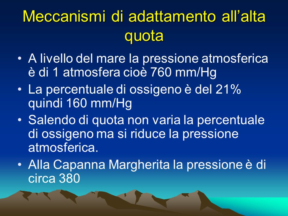 Meccanismi di adattamento all'alta quota