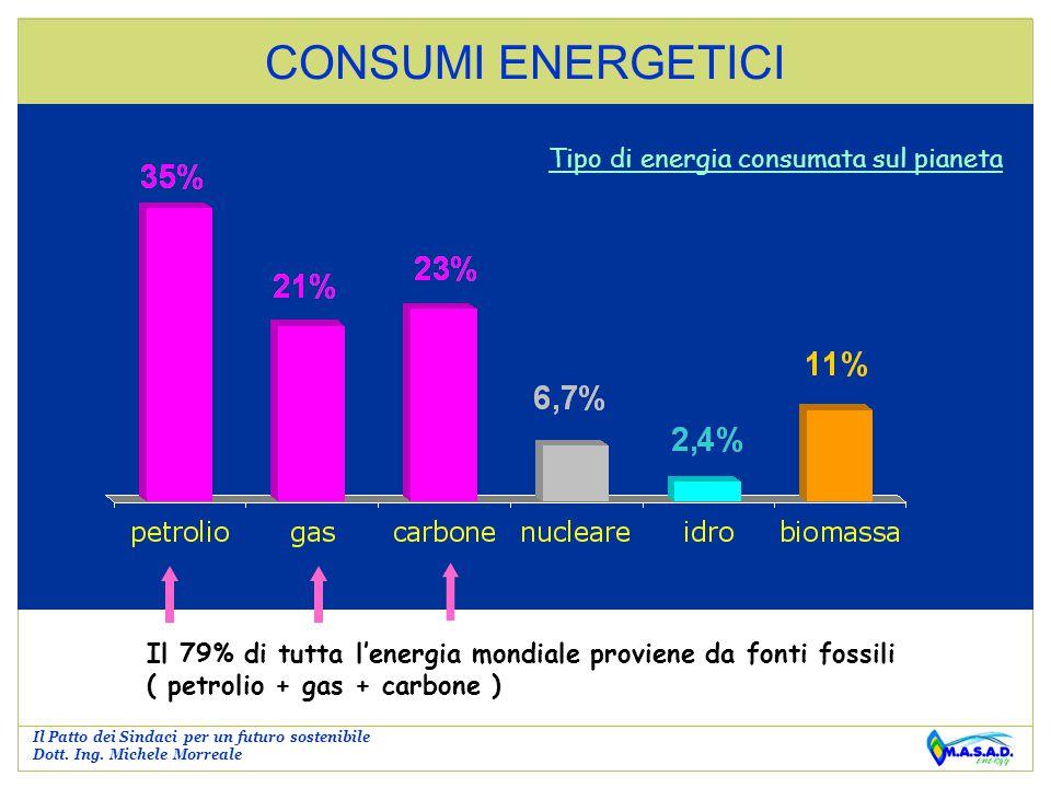 CONSUMI ENERGETICI Tipo di energia consumata sul pianeta