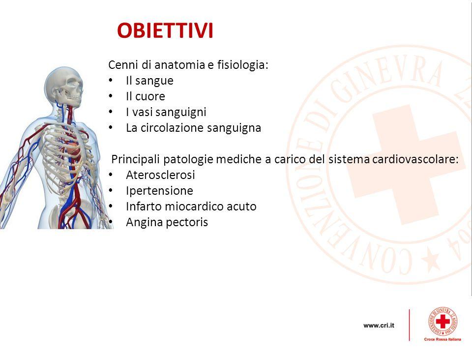 OBIETTIVI Cenni di anatomia e fisiologia: Il sangue Il cuore
