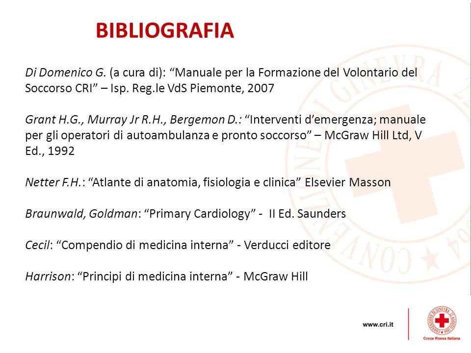 BIBLIOGRAFIA Di Domenico G. (a cura di): Manuale per la Formazione del Volontario del Soccorso CRI – Isp. Reg.le VdS Piemonte, 2007.