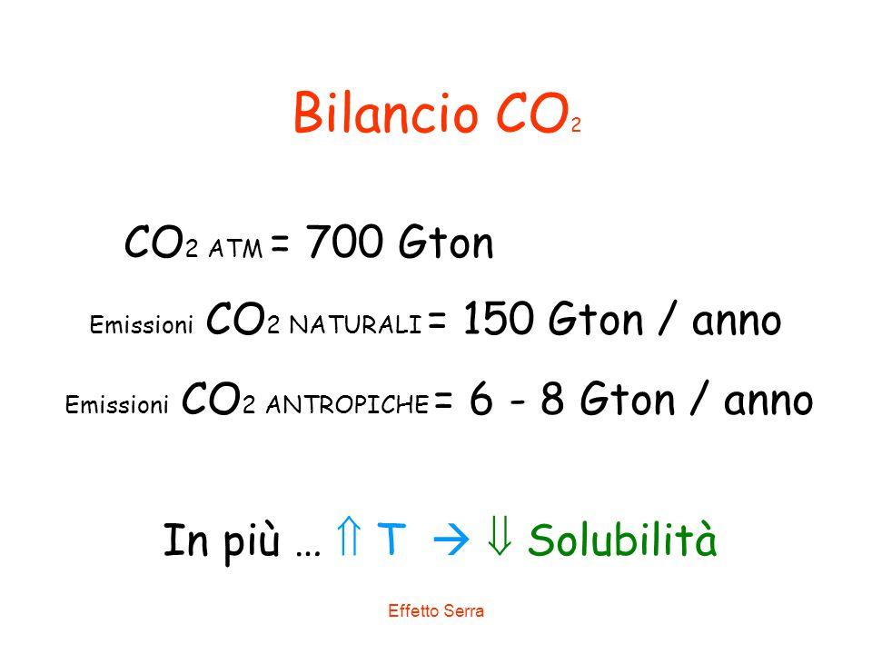 Bilancio CO2 CO2 ATM = 700 Gton In più …  T   Solubilità