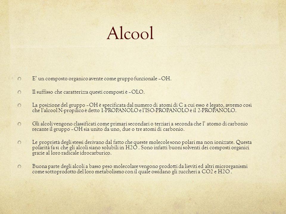Alcool E' un composto organico avente come gruppo funzionale –OH.