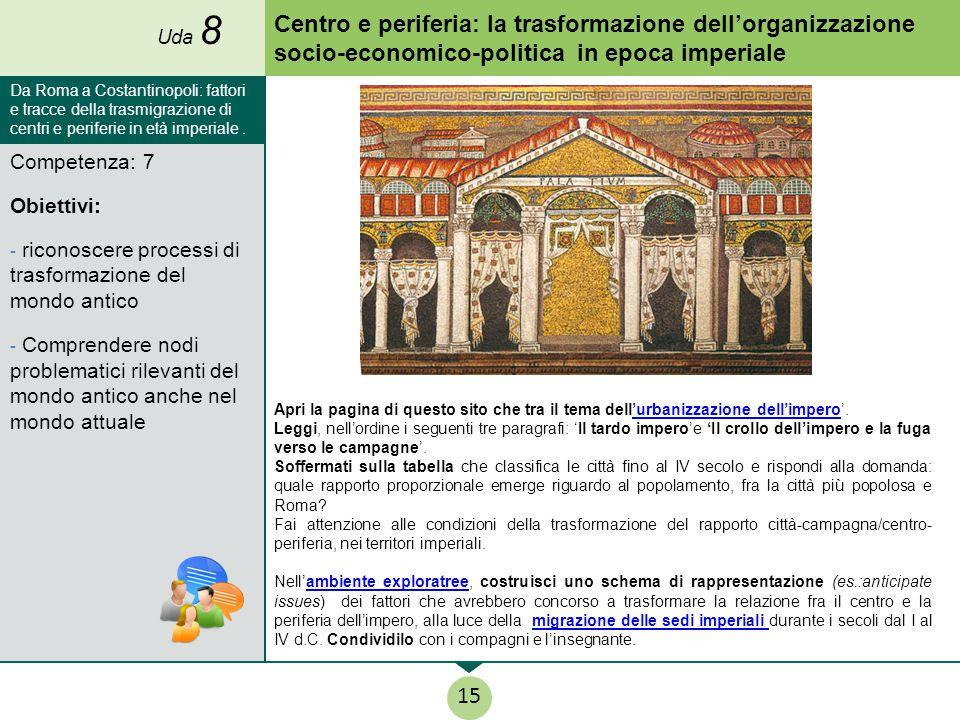 Uda 8 Centro e periferia: la trasformazione dell'organizzazione socio-economico-politica in epoca imperiale.
