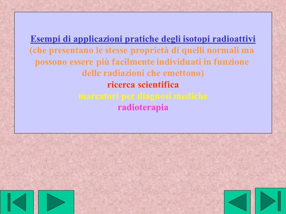 Esempi di applicazioni pratiche degli isotopi radioattivi
