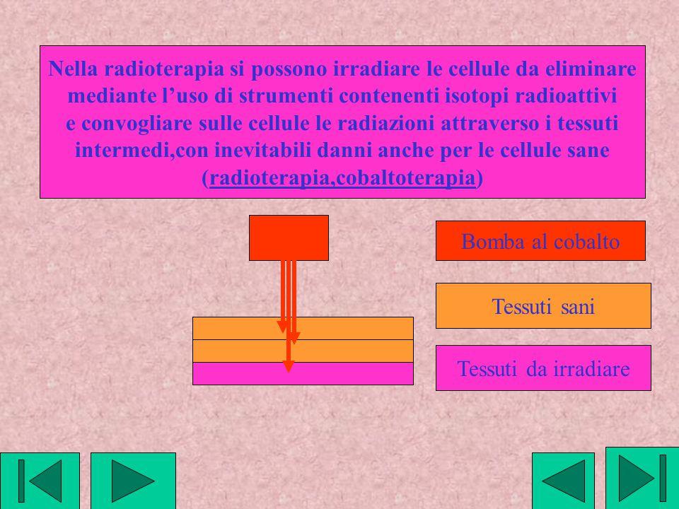 Nella radioterapia si possono irradiare le cellule da eliminare