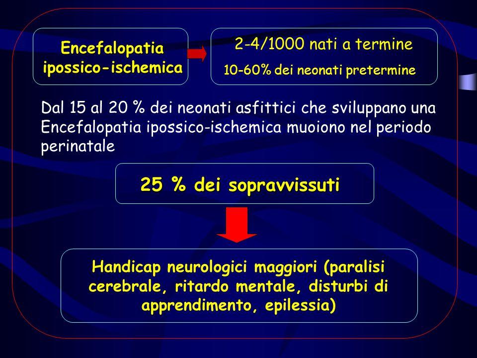 25 % dei sopravvissuti 2-4/1000 nati a termine Encefalopatia