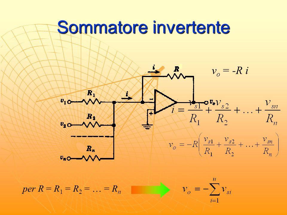 Sommatore invertente vo = -R i per R = R1 = R2 = … = Rn