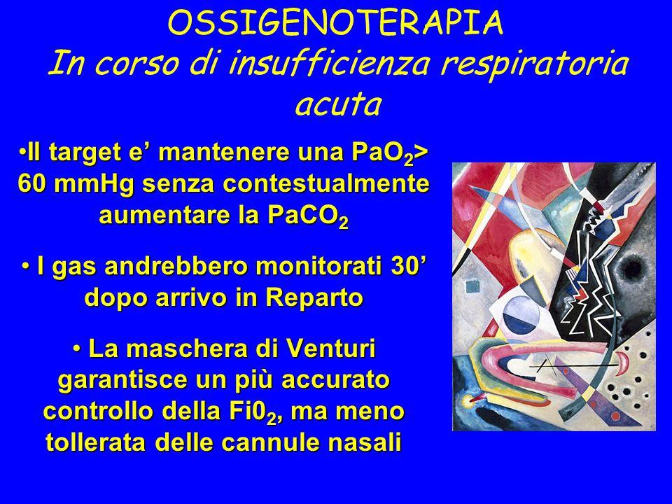 OSSIGENOTERAPIA In corso di insufficienza respiratoria acuta