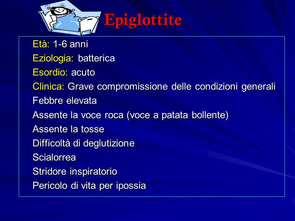 Epiglottite Età: 1-6 anni Eziologia: batterica Esordio: acuto