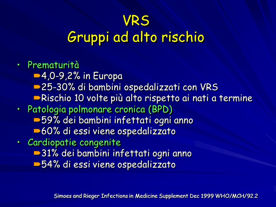 VRS Gruppi ad alto rischio