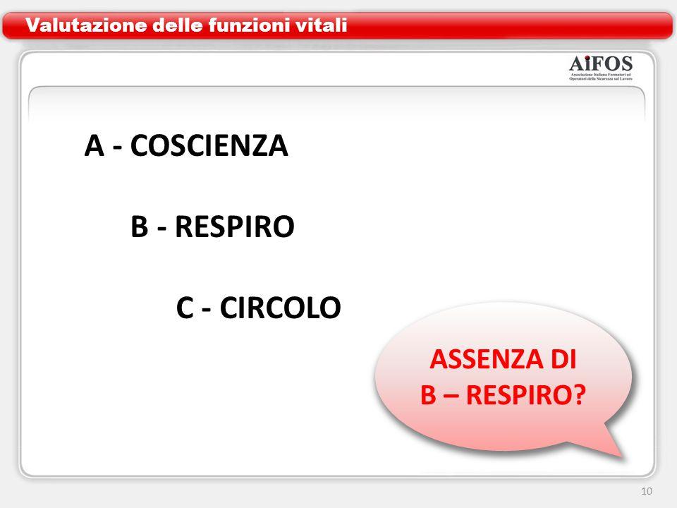 A - COSCIENZA B - RESPIRO C - CIRCOLO ASSENZA DI B – RESPIRO