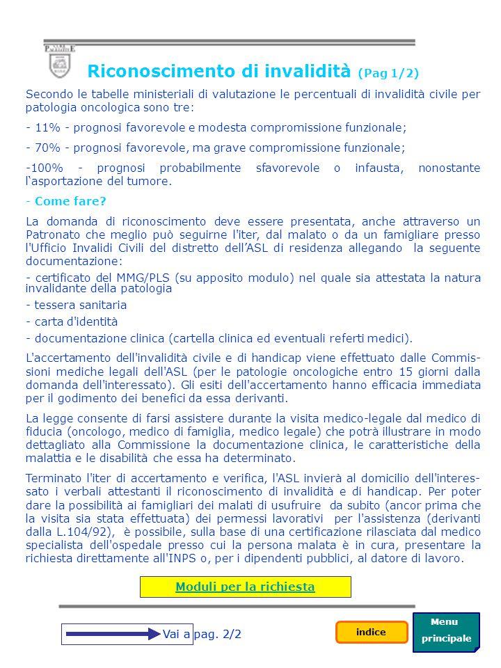 Riconoscimento di invalidità (Pag 1/2) Moduli per la richiesta