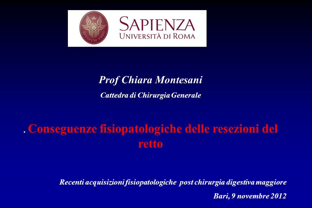 Prof Chiara Montesani Cattedra di Chirurgia Generale. . Conseguenze fisiopatologiche delle resezioni del retto.