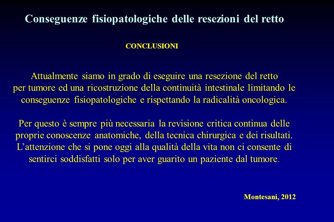 Conseguenze fisiopatologiche delle resezioni del retto