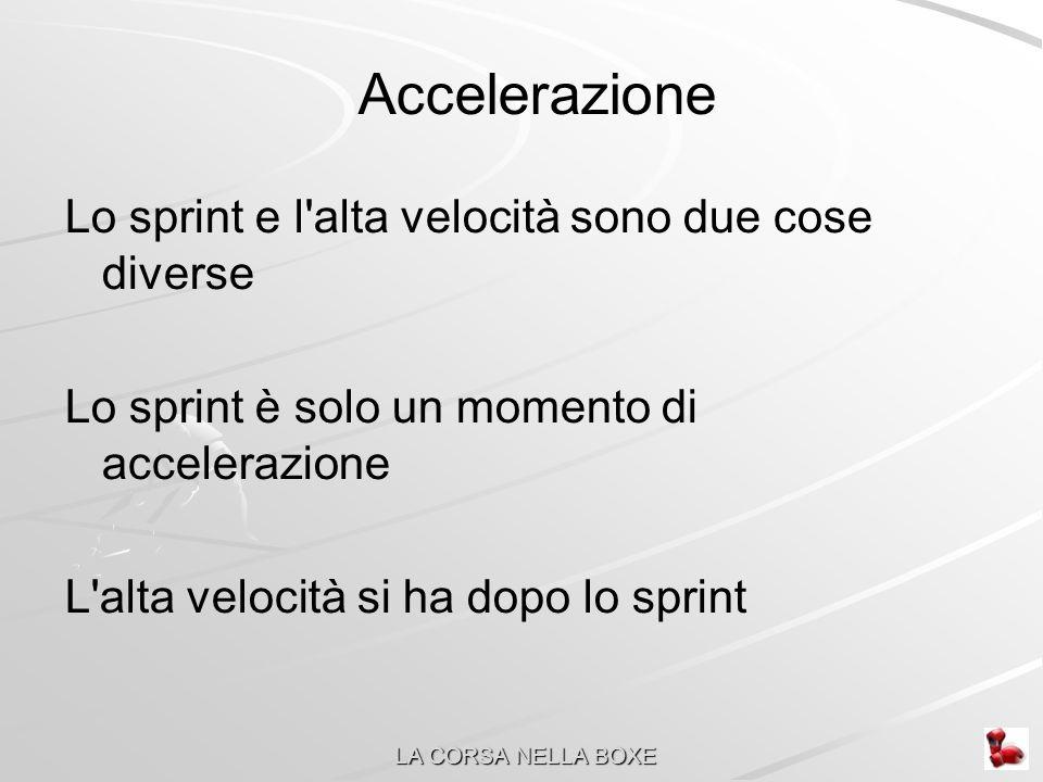Accelerazione Lo sprint e l alta velocità sono due cose diverse