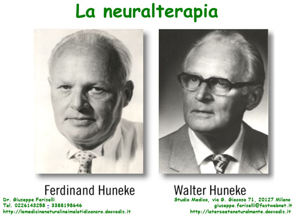 La neuralterapia Dr. Giuseppe Fariselli Studio Medico, via G. Giacosa 71, 20127 Milano.