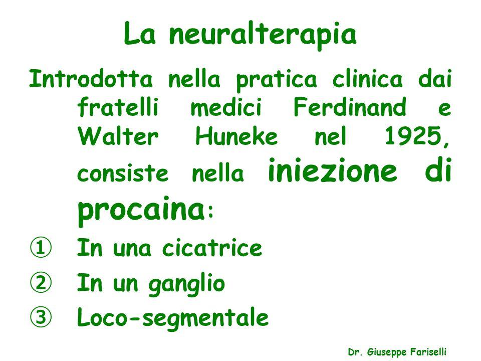La neuralterapia Introdotta nella pratica clinica dai fratelli medici Ferdinand e Walter Huneke nel 1925, consiste nella iniezione di procaina: