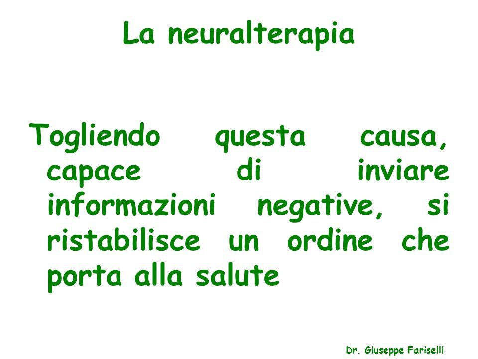 La neuralterapia Togliendo questa causa, capace di inviare informazioni negative, si ristabilisce un ordine che porta alla salute.