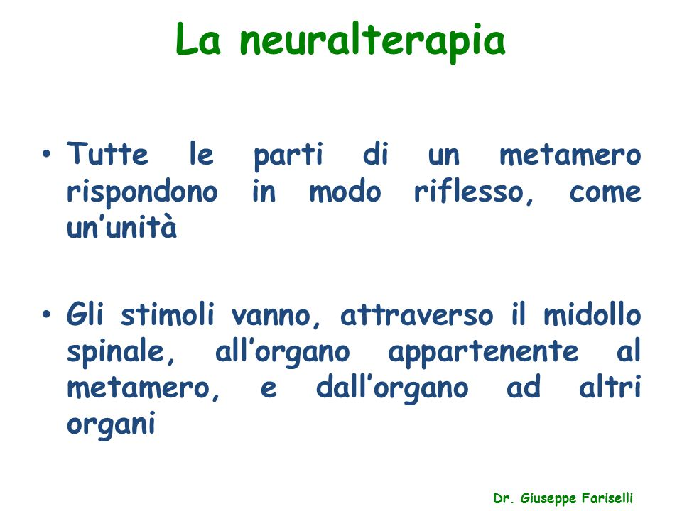 La neuralterapia Tutte le parti di un metamero rispondono in modo riflesso, come un'unità.