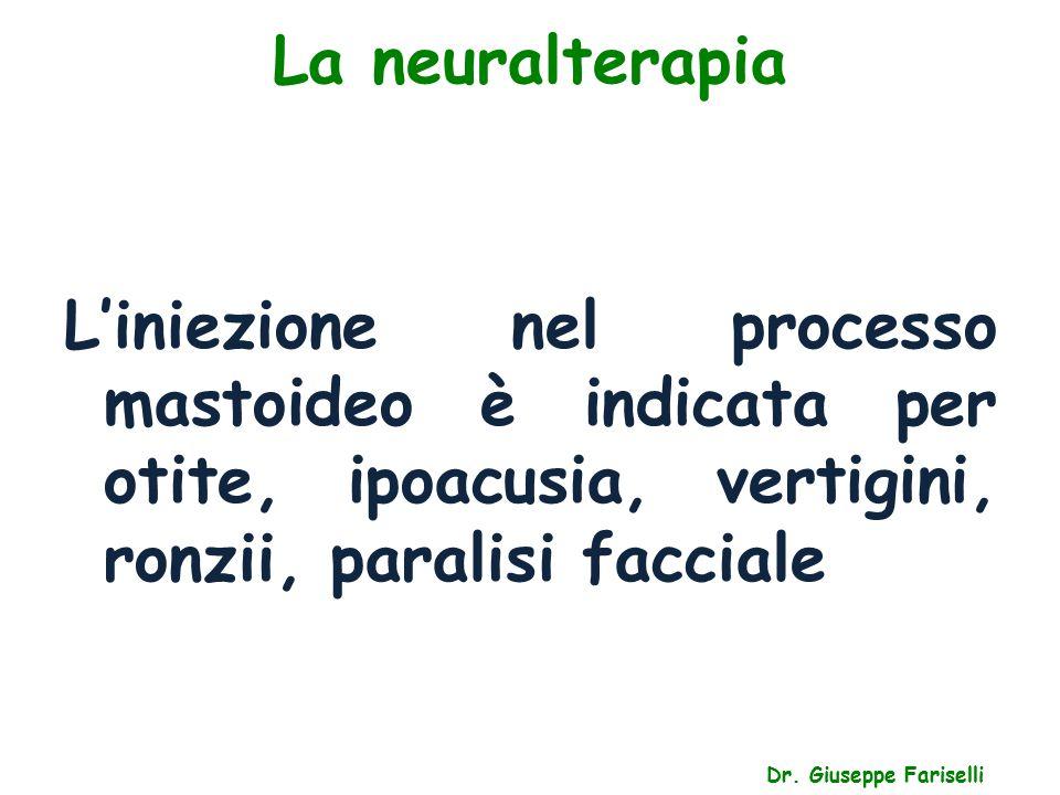 La neuralterapia L'iniezione nel processo mastoideo è indicata per otite, ipoacusia, vertigini, ronzii, paralisi facciale.