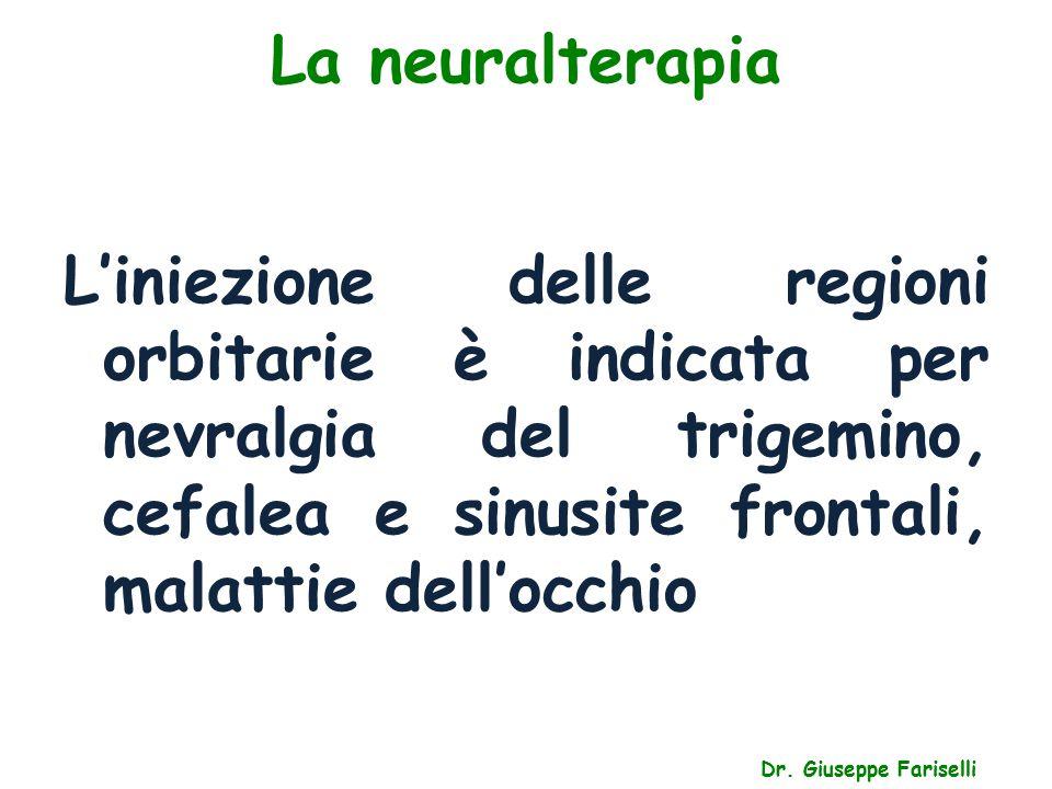 La neuralterapia L'iniezione delle regioni orbitarie è indicata per nevralgia del trigemino, cefalea e sinusite frontali, malattie dell'occhio.