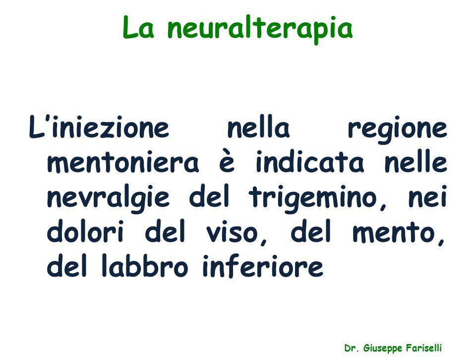 La neuralterapia L'iniezione nella regione mentoniera è indicata nelle nevralgie del trigemino, nei dolori del viso, del mento, del labbro inferiore.