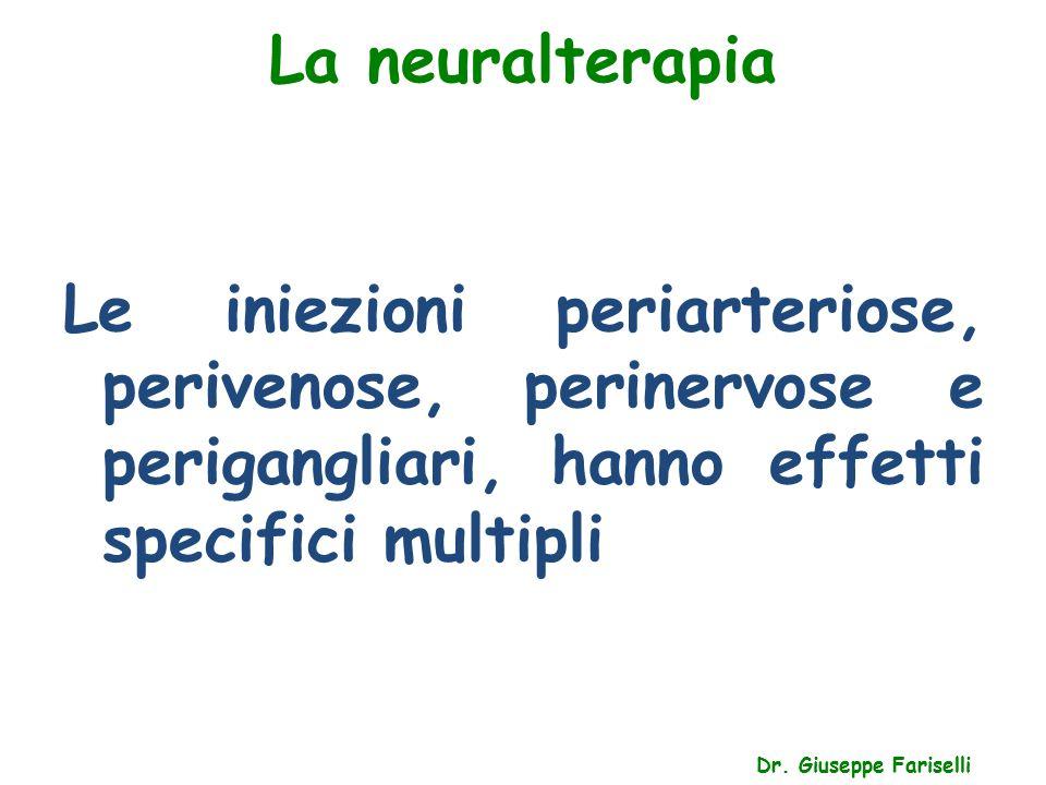 La neuralterapia Le iniezioni periarteriose, perivenose, perinervose e perigangliari, hanno effetti specifici multipli.