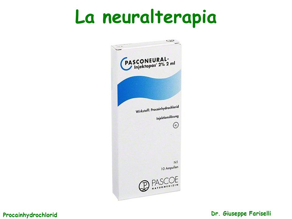 La neuralterapia Procainhydrochlorid Dr. Giuseppe Fariselli