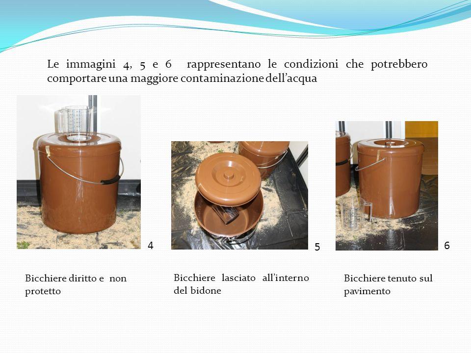 Le immagini 4, 5 e 6 rappresentano le condizioni che potrebbero comportare una maggiore contaminazione dell'acqua
