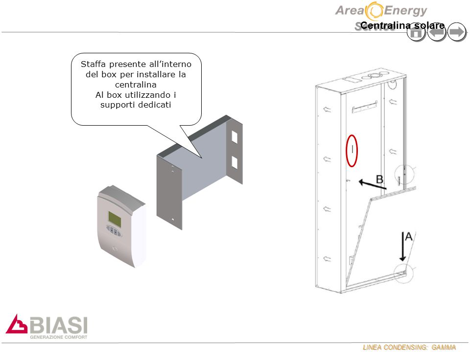 Centralina solare Staffa presente all'interno del box per installare la centralina.
