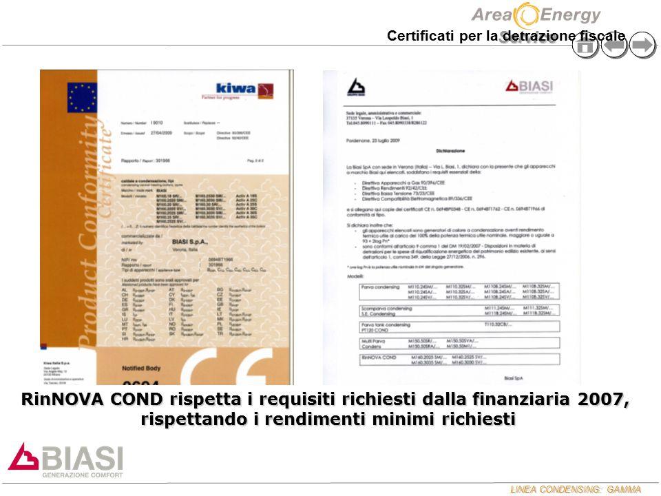 RinNOVA COND rispetta i requisiti richiesti dalla finanziaria 2007,